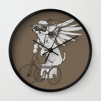 steam punk Wall Clocks featuring Steam Punk Chihuahua by Rebecca Pocai