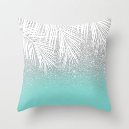 Modern tropical white palm tree silver glitter ombre on robbin egg blue turquoise Throw Pillow