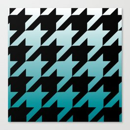 Rustic Turquoise Ombre Houndstooth Canvas Print