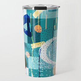 Abstract colorful geometric shapes collage Travel Mug