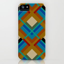 Retro Squares Abstract Art Geometric Pattern iPhone Case