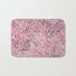 Burgundy red and white swirls doodles Bath Mat
