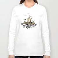 rowing Long Sleeve T-shirts featuring Viking ship 2 by mangulica