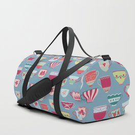 China Teacups on Teal Duffle Bag