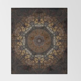 Rich Brown and Gold Textured Mandala Art Throw Blanket