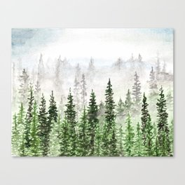 Pine Tree Forest in the Fog Canvas Print
