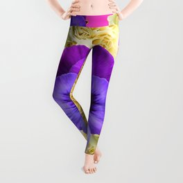 PURPLE PANSY FLOWERS & IVORY ROSES  PINK ART Leggings