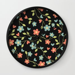 Elegant hand drawn floral pattern on black background Wall Clock