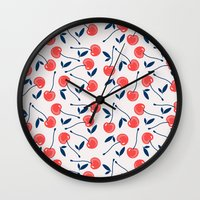 cherry Wall Clocks featuring Cherry  by Babiole Design