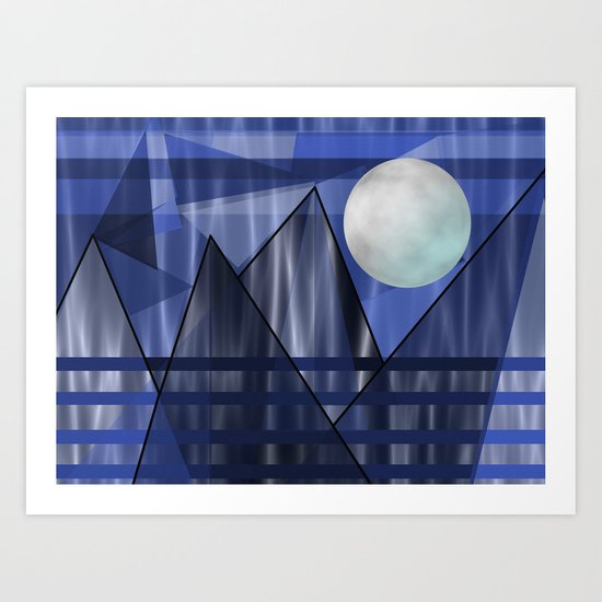 Moon Over The Mountains Art Print