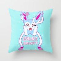 sylveon Throw Pillows featuring shiny sylveon by deerboywonder