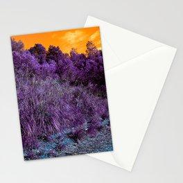 Not home planet alien landscape indigo purple orange surreallist Stationery Cards