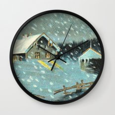 Snowy house in the woods vintage Wall Clock