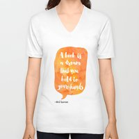neil gaiman V-neck T-shirts featuring Mango, Neil Gaiman, quotes, inspirational art, bookish by Good vibes and coffee
