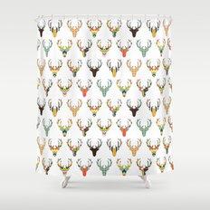retro deer head white Shower Curtain