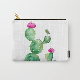 Pink Flowering Cactus & Cute Bird Carry-All Pouch