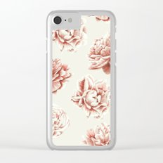 Rose Garden Vintage Rose Pink and Cream Clear iPhone Case