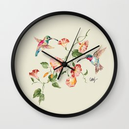 hummingbirds & morning glories Wall Clock