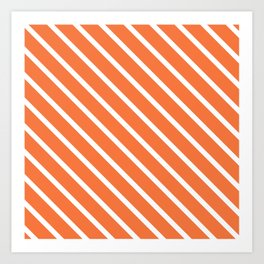 Peach Orange Diagonal Stripes Art Print