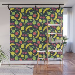 Illustrated fruits pattern on a black background Wall Mural