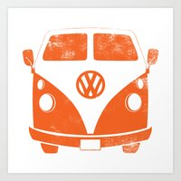 vw bus Art Prints featuring VW Bus by Burnish and Press