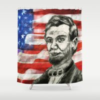 lincoln Shower Curtains featuring Abraham Lincoln by The Universe Within Art