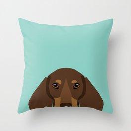Doxie Portrait - Chocolate and Tan dog design - cute dachshund face Throw Pillow