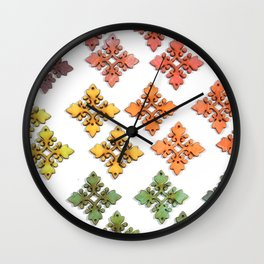 Wood Rainbow Florets Wall Clock