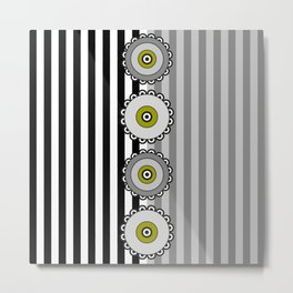 Flowers and Stripes - Gray Green Metal Print