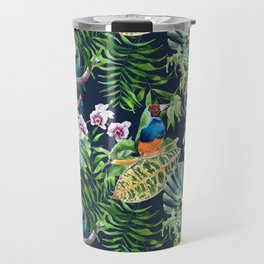 A realistic watercolor seamless large pattern of tropical leaves, flowers and birds Travel Mug