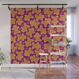 Gingerbread Men on Purple Wall Mural