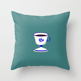 Cup of Coffee in Blue Flow Vintage China Throw Pillow