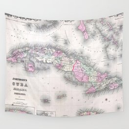 Vintage Map of Cuba (1861) Wall Tapestry