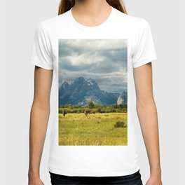 Horses and the Grand Teton T-shirt