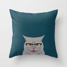 Kai - British shorthair cat gifts for cat lovers, cat lady gifts Cat people gifts, Hipster Glasses Throw Pillow
