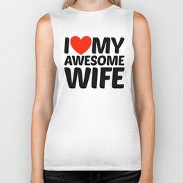 I HEART LOVE MY AWESOME WIFE Biker Tank