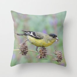 Lesser Goldfinch Snacks on Seeds Throw Pillow