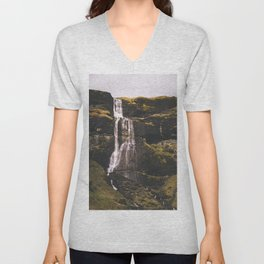 Waterfall Somewhere in Southern Iceland. Unisex V-Neck