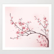 Oriental style painting, cherry blossom in spring Art Print