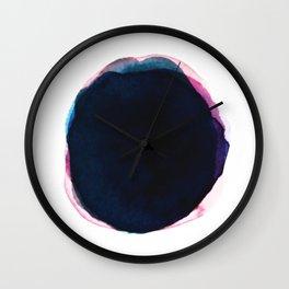 Indigo Watercolor Ink Abstract Wall Clock
