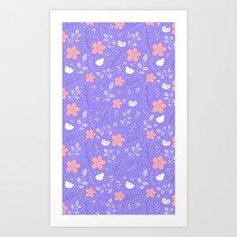 Cute bird and flower pattern Art Print