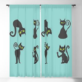Black cats Blackout Curtain