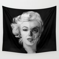 rockabilly Wall Tapestries featuring Dead Celebrities Series Half Skull by Kristy Patterson Design