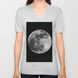black and white photo of full moon Unisex V-Neck