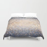 winter Duvet Covers featuring Glimmer of Light (Ombré Glitter Abstract) by soaring anchor designs