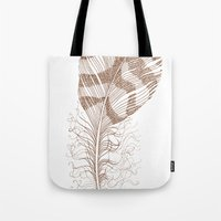 feather Tote Bags featuring The Solitary Feather by Sandra Ireland