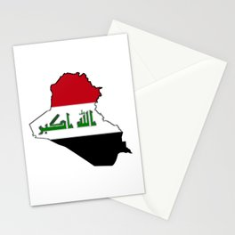 Iraq Map with Iraqi Flag Stationery Cards