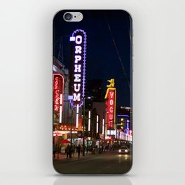 Granville St after dark 2 iPhone Skin