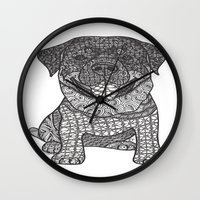 rottweiler Wall Clocks featuring Courageous- Rottweiler by DiAnne Ferrer