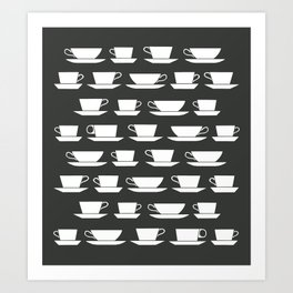 Pattern of Coffee and Tea Cups Art Print